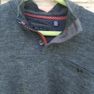 Ted baker mens green  half button down sweater 6